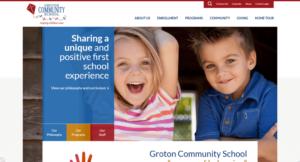 groton communicaty school homepage screen shot